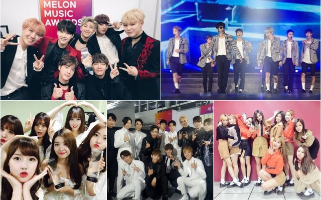 BTS, EXO, G-Friend, Seventeen a TWICE