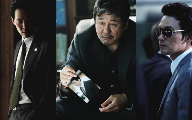 (zleva) Lee Jung Jae, Choi Min Sik a Hwang Jeong Min ve filmu ′New World′