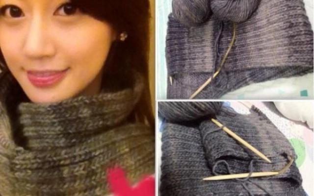Seung Ah upletla šálu,aby se postavila studené zimě.